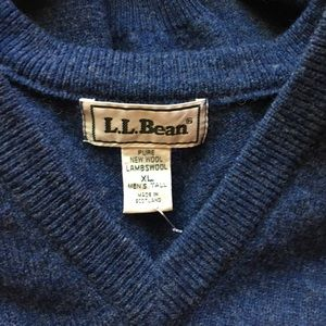 LL BEAN V-NECK LAMBSWOOL SWEATER / SIZE XL / NEW
